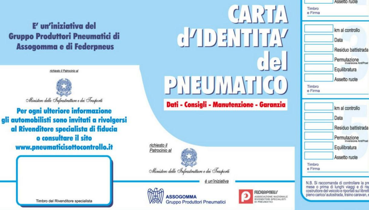 carta identita pneumatico